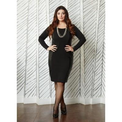Φόρεμα μαύρο με δερματίνη.