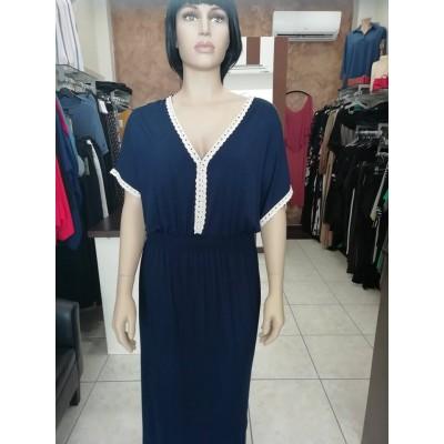 Φόρεμα με V λαιμόκοψη καί διακοσμητική τρέσα καί ρεγκλάν μανίκια σε μπλέ χρώμα.