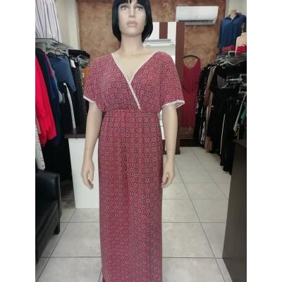 Φόρεμα τύπου κρουαζέ με διακοσμητική τρέσα καί ρεγκλάν μανίκια κόκκινο χρώμα.