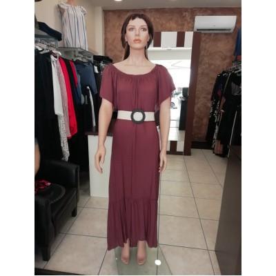 Φόρεμα maxi σε καφέ χρώμα καί βολάν στό τελείωμα.