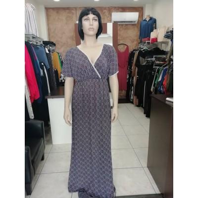 Φόρεμα maxi τύπου κρουαζέ με διακοσμητική τρέσα καί ρεγκλάν μανίκια σε μπλέ χρώμα.