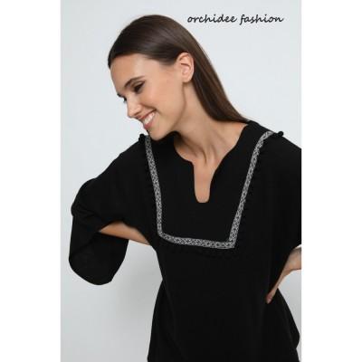 Μπλούζα πλεκτή καφτάνι μαύρη.