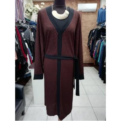 Φόρεμα  V καρό καφέ/μαύρο μακρί μανίκι με ζωνάκι μαύρο.