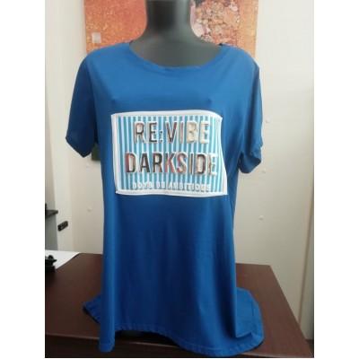 Μπλούζα με λαιμόκοψη με ψηφιακό λογότυπο σε μπλε.
