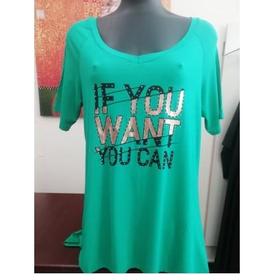 Μπλούζα βισκόζ με V πράσινη.