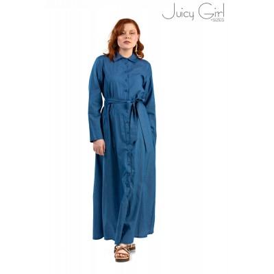 Φόρεμα με κουμπιά καί ζώνη τζίν maxi.