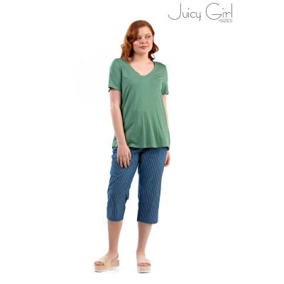 Μπλούζα με V λαιμόκοψη καί φάσα από βισκοζ πράσινη.