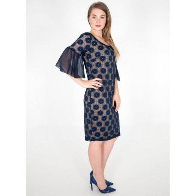 Φόρεμα με δαντέλα μπλέ και 3/4 μανίκια με βολάν.