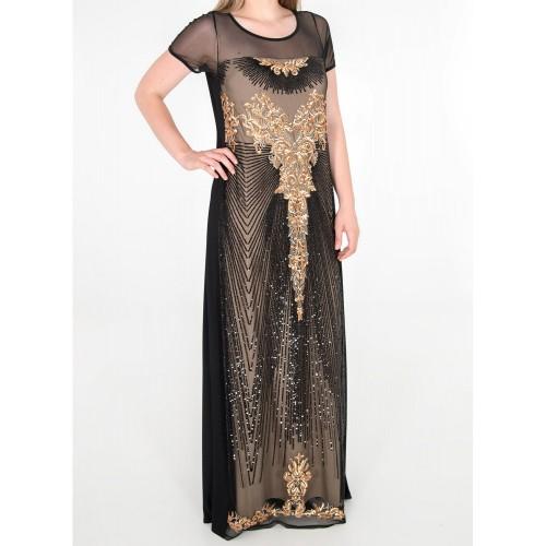Φόρεμα αμπιγιέ μαύρο με πούλιες