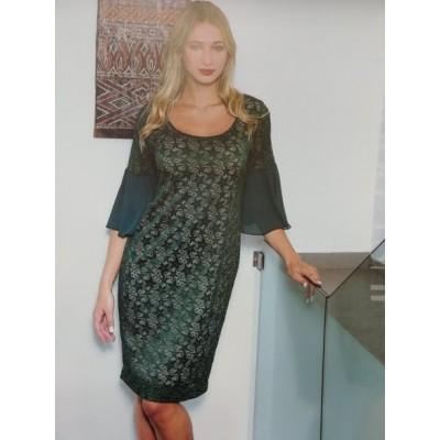 Φόρεμα απο πράσινη  δαντέλα και 3/4 μανίκια