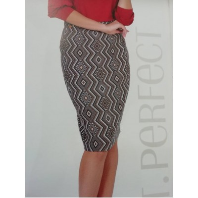 Φούστα με γεωμετρικά σχήματα και ρούλεξ