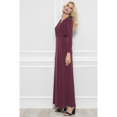 Φόρεμα μπορντώ με κόψιμο κρουαζέ με διακοσμητική τρέσσα στους ώμους